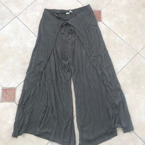 Pants - Tie front olive sarong
